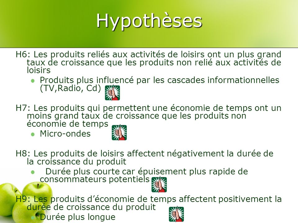 Hypothèses H6: Les produits reliés aux activités de loisirs ont un plus grand taux de croissance que les produits non relié aux activités de loisirs P