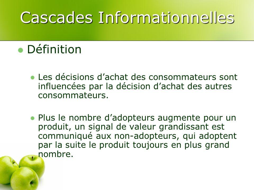 Cascades Informationnelles Définition Les décisions dachat des consommateurs sont influencées par la décision dachat des autres consommateurs. Plus le
