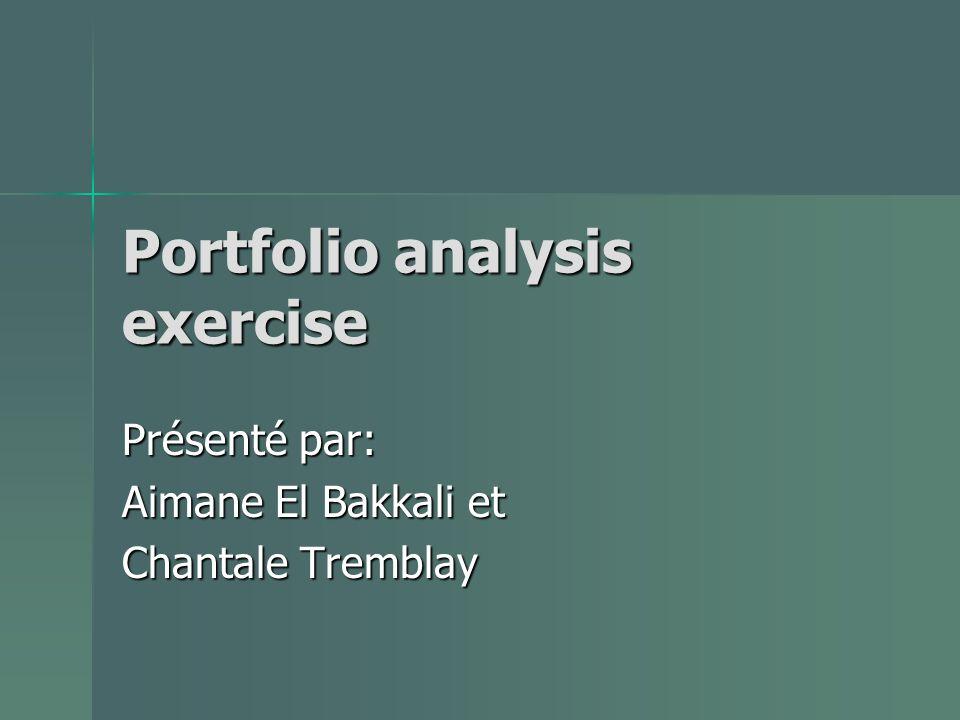 Portfolio analysis exercise Présenté par: Aimane El Bakkali et Chantale Tremblay