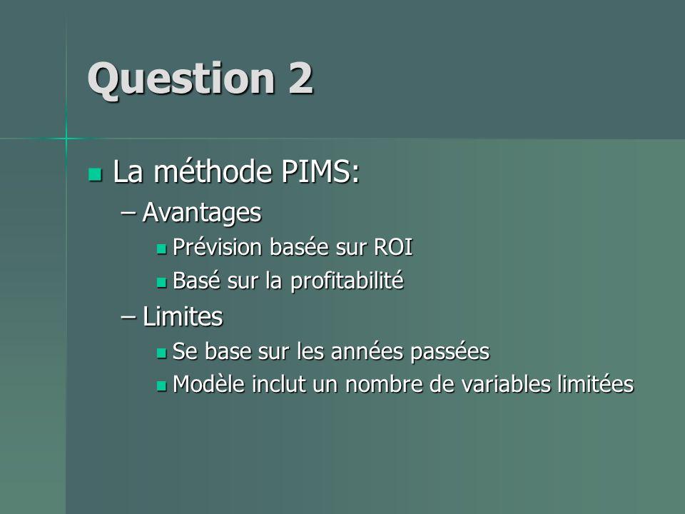 Question 2 La méthode PIMS: La méthode PIMS: –Avantages Prévision basée sur ROI Prévision basée sur ROI Basé sur la profitabilité Basé sur la profitabilité –Limites Se base sur les années passées Se base sur les années passées Modèle inclut un nombre de variables limitées Modèle inclut un nombre de variables limitées