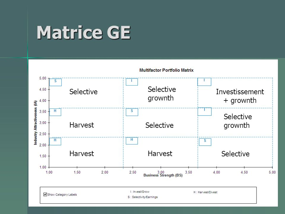 Matrice GE Selective grownth Investissement + grownth Harvest Selective