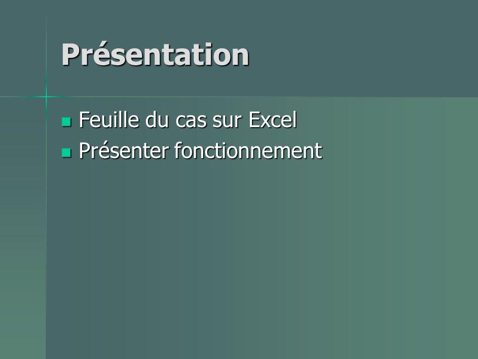 Présentation Feuille du cas sur Excel Feuille du cas sur Excel Présenter fonctionnement Présenter fonctionnement
