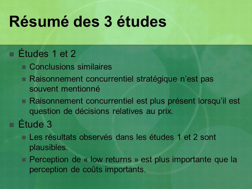 Résumé des 3 études Études 1 et 2 Conclusions similaires Raisonnement concurrentiel stratégique nest pas souvent mentionné Raisonnement concurrentiel