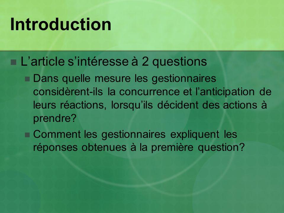 Introduction Larticle sintéresse à 2 questions Dans quelle mesure les gestionnaires considèrent-ils la concurrence et lanticipation de leurs réactions