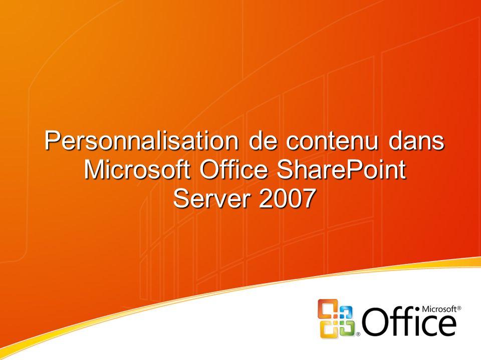 Personnalisation de contenu dans Microsoft Office SharePoint Server 2007