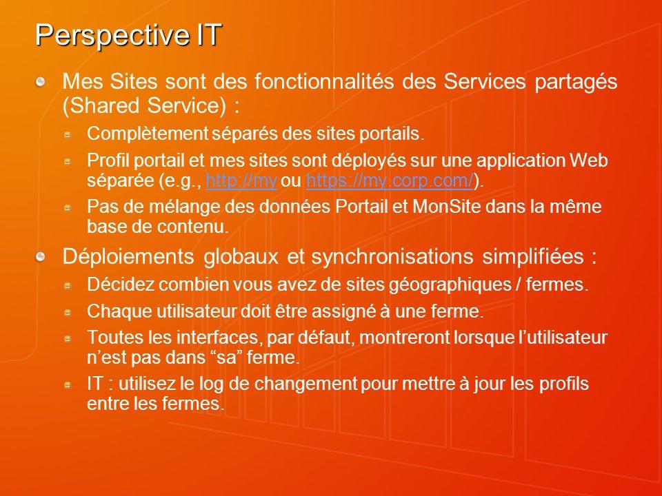 Perspective IT Mes Sites sont des fonctionnalités des Services partagés (Shared Service) : Complètement séparés des sites portails.