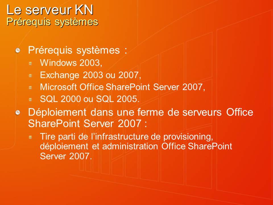 Le serveur KN Prérequis systèmes Prérequis systèmes : Windows 2003, Exchange 2003 ou 2007, Microsoft Office SharePoint Server 2007, SQL 2000 ou SQL 2005.
