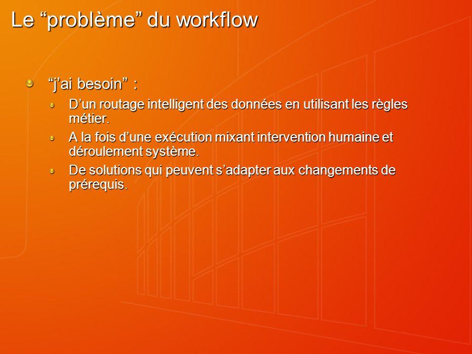 Le problème du workflow jai besoin : Dun routage intelligent des données en utilisant les règles métier. A la fois dune exécution mixant intervention