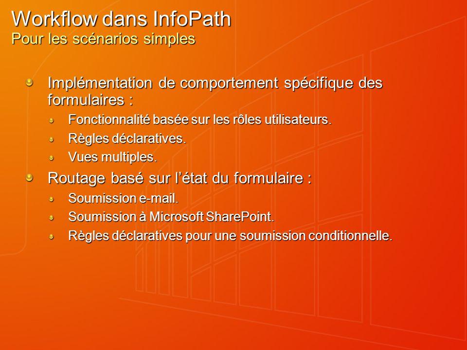 Workflow dans InfoPath Pour les scénarios simples Implémentation de comportement spécifique des formulaires : Fonctionnalité basée sur les rôles utili