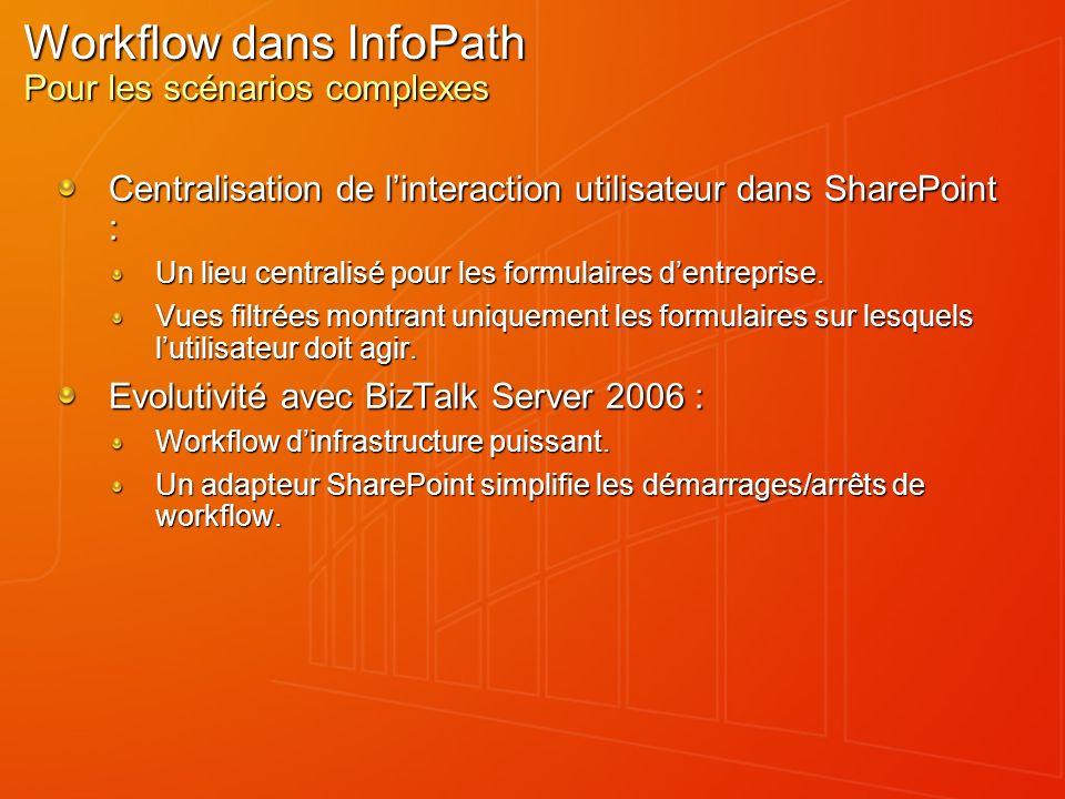 Workflow dans InfoPath Pour les scénarios complexes Centralisation de linteraction utilisateur dans SharePoint : Un lieu centralisé pour les formulair