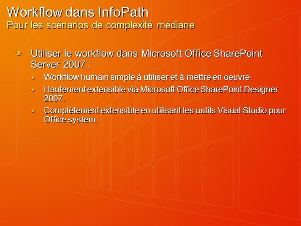 Workflow dans InfoPath Pour les scénarios de complexité médiane Utiliser le workflow dans Microsoft Office SharePoint Server 2007 : Workflow humain si