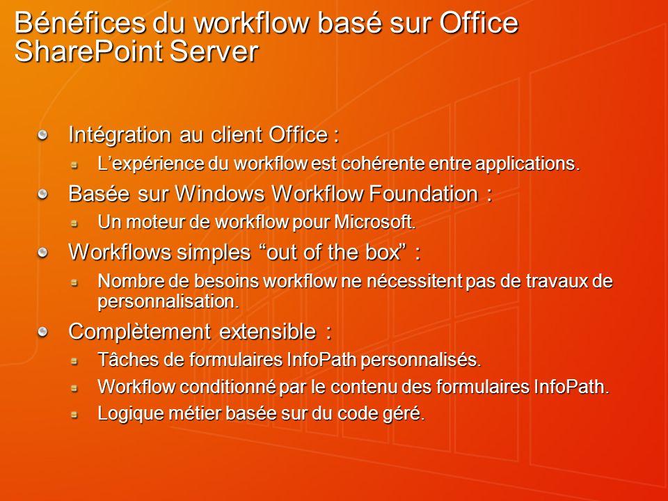 Bénéfices du workflow basé sur Office SharePoint Server Intégration au client Office : Lexpérience du workflow est cohérente entre applications. Basée