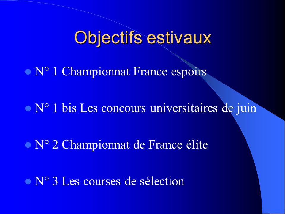Objectifs estivaux N° 1 Championnat France espoirs N° 1 bis Les concours universitaires de juin N° 2 Championnat de France élite N° 3 Les courses de s