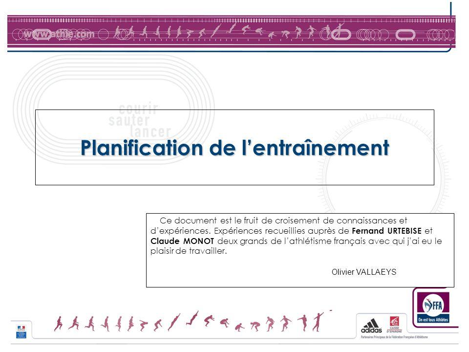 Planification de lentraînement Ce document est le fruit de croisement de connaissances et dexpériences. Expériences recueillies auprès de Fernand URTE