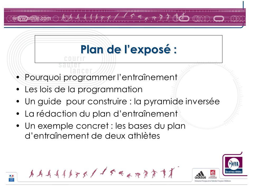 Plan de lexposé : Pourquoi programmer lentraînement Les lois de la programmation Un guide pour construire : la pyramide inversée La rédaction du plan