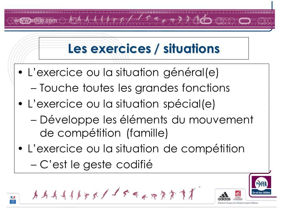 Les exercices / situations Lexercice ou la situation général(e) –Touche toutes les grandes fonctions Lexercice ou la situation spécial(e) –Développe l