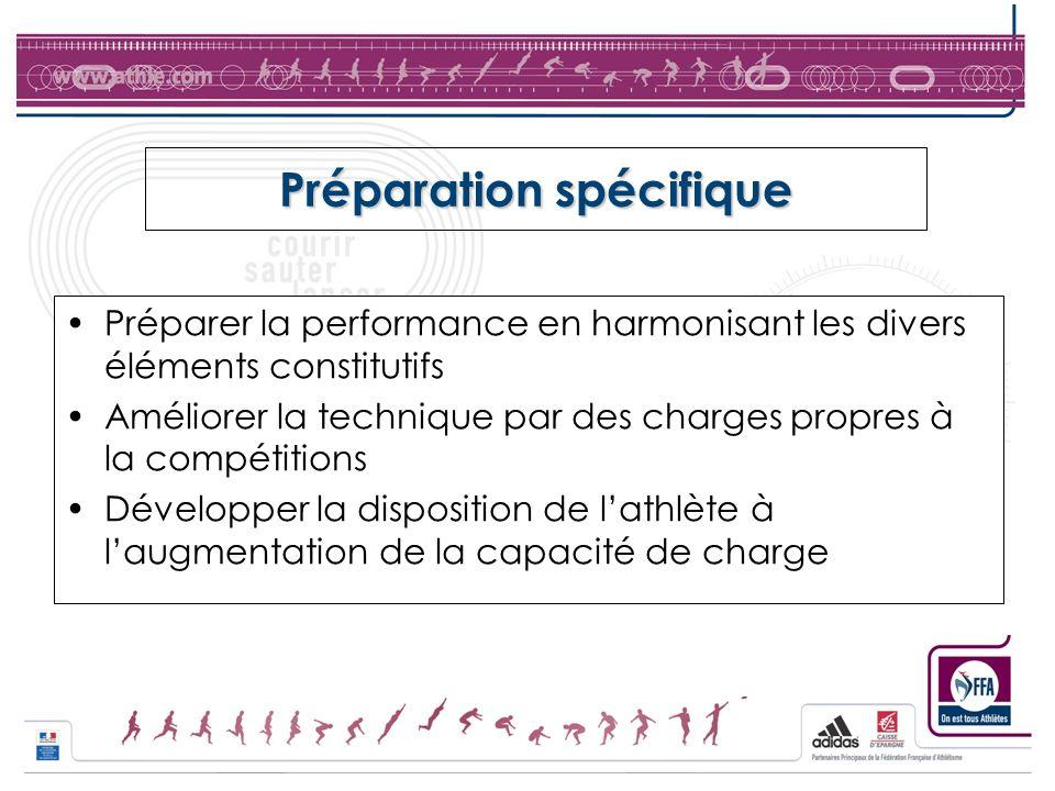 Préparation spécifique Préparer la performance en harmonisant les divers éléments constitutifs Améliorer la technique par des charges propres à la com