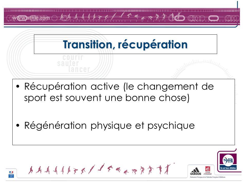 Transition, récupération Récupération active (le changement de sport est souvent une bonne chose) Régénération physique et psychique