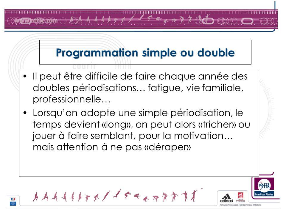 Programmation simple ou double Il peut être difficile de faire chaque année des doubles périodisations… fatigue, vie familiale, professionnelle… Lorsq