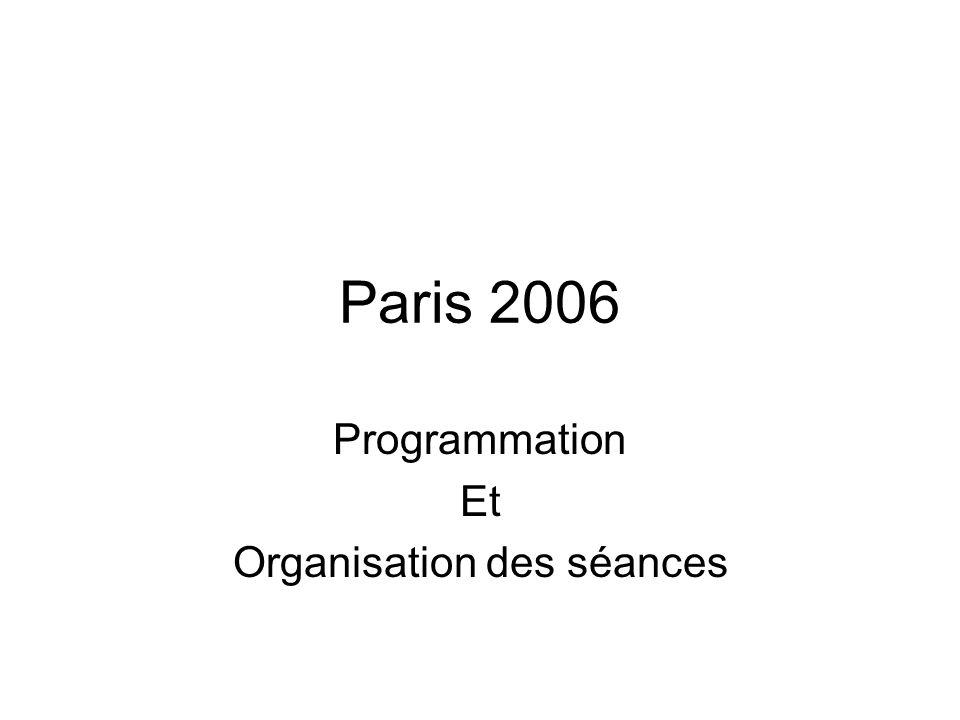 Paris 2006 Introduction : Lorganisation des séances dentraînement est un élément primordial de la réussite de notre action éducative.