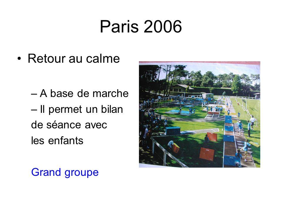 Paris 2006 Retour au calme –A base de marche –Il permet un bilan de séance avec les enfants Grand groupe