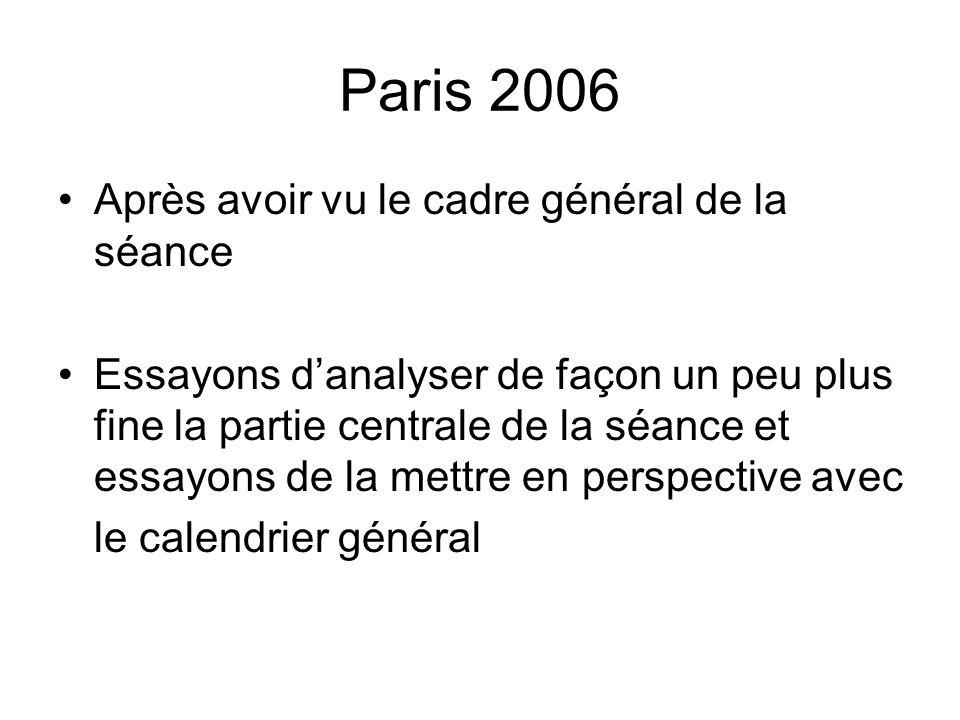 Paris 2006 Après avoir vu le cadre général de la séance Essayons danalyser de façon un peu plus fine la partie centrale de la séance et essayons de la
