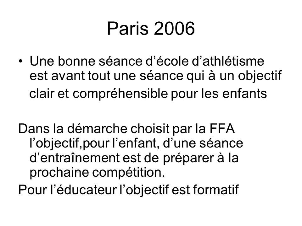 Paris 2006 Une bonne séance décole dathlétisme est avant tout une séance qui à un objectif clair et compréhensible pour les enfants Dans la démarche c