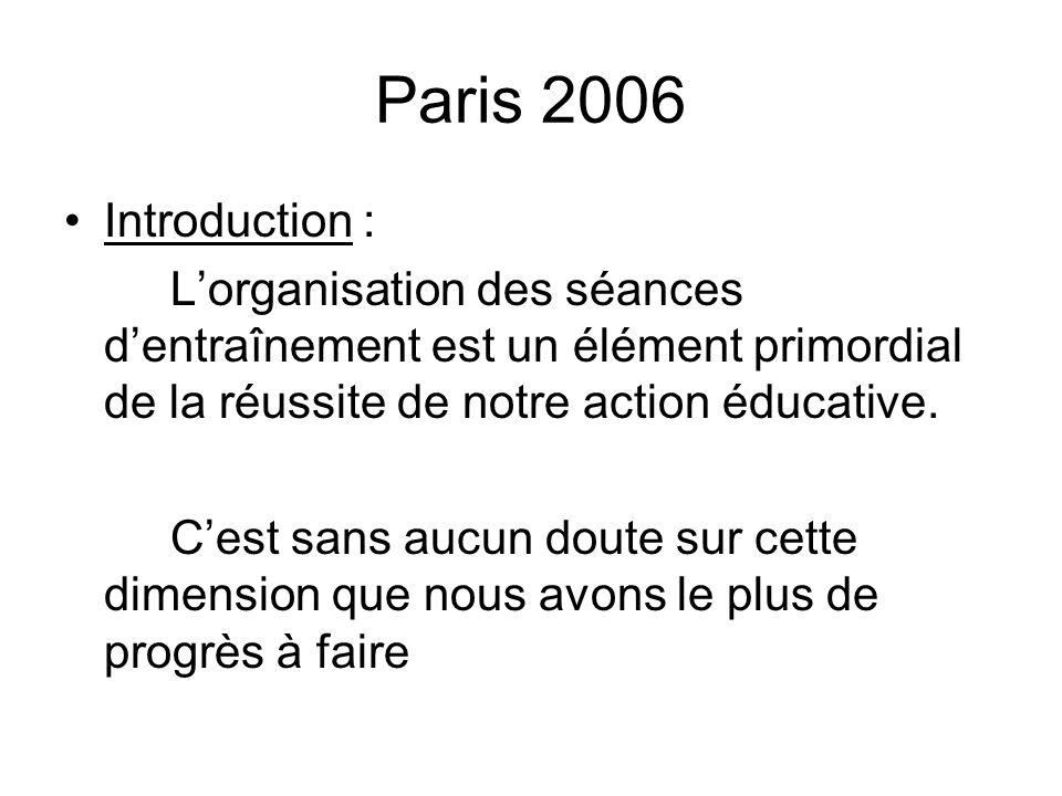 Paris 2006 Introduction : Lorganisation des séances dentraînement est un élément primordial de la réussite de notre action éducative. Cest sans aucun