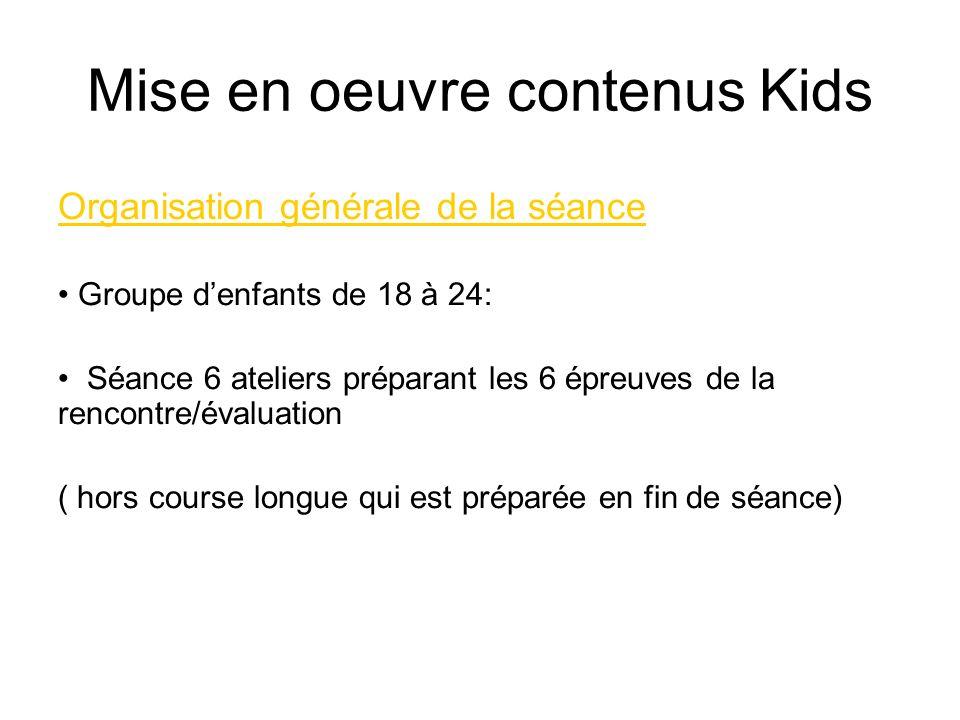 Mise en oeuvre contenus Kids Organisation générale de la séance Groupe denfants de 18 à 24: Séance 6 ateliers préparant les 6 épreuves de la rencontre