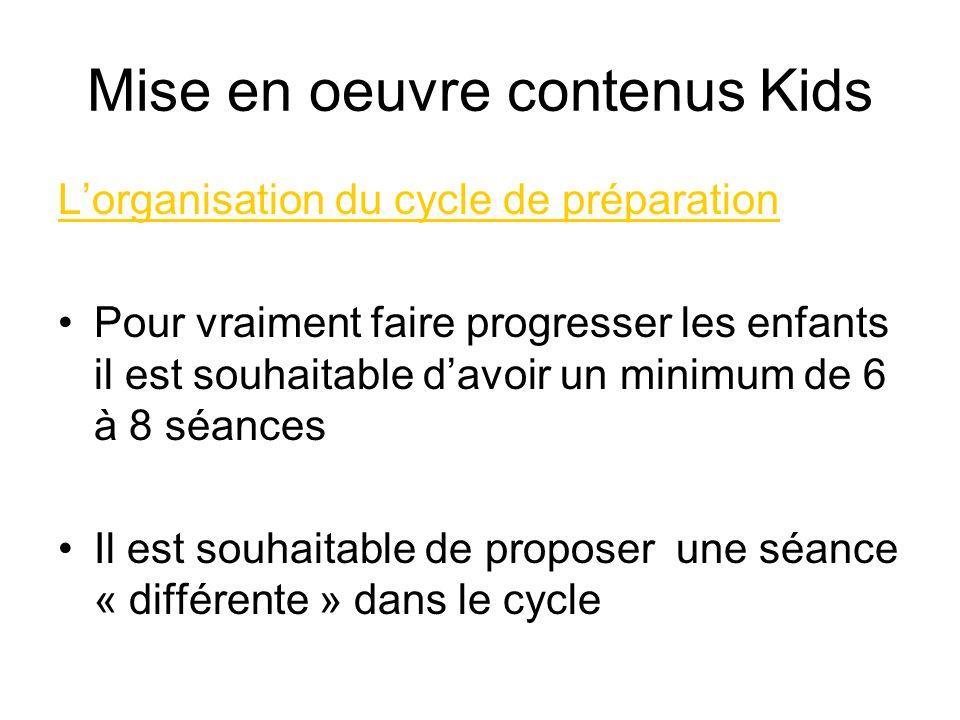 Mise en oeuvre contenus Kids Lorganisation du cycle de préparation Pour vraiment faire progresser les enfants il est souhaitable davoir un minimum de