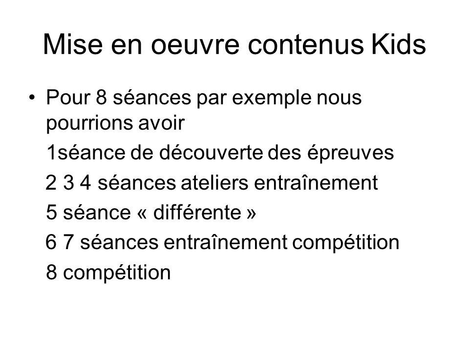Mise en oeuvre contenus Kids Pour 8 séances par exemple nous pourrions avoir 1séance de découverte des épreuves 2 3 4 séances ateliers entraînement 5