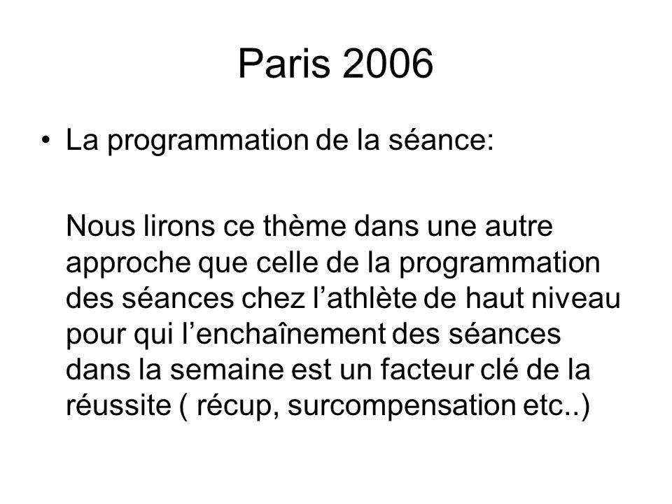 Paris 2006 La programmation de la séance sera donc réduite au choix délaboration du « timing » de la séance