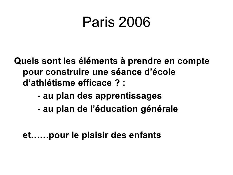 Paris 2006 Quels sont les éléments à prendre en compte pour construire une séance décole dathlétisme efficace ? : - au plan des apprentissages - au pl