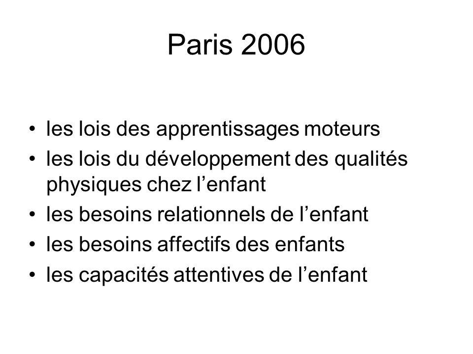 Paris 2006 les lois des apprentissages moteurs les lois du développement des qualités physiques chez lenfant les besoins relationnels de lenfant les b