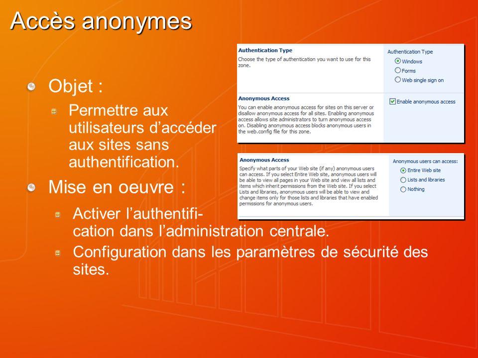 Accès anonymes Objet : Permettre aux utilisateurs daccéder aux sites sans authentification. Mise en oeuvre : Activer lauthentifi- cation dans ladminis