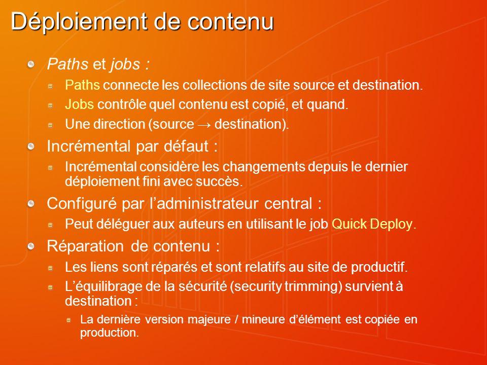 Déploiement de contenu Paths et jobs : Paths connecte les collections de site source et destination. Jobs contrôle quel contenu est copié, et quand. U