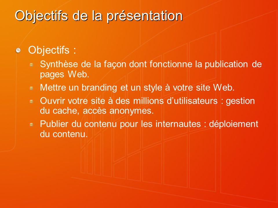 Objectifs de la présentation Objectifs : Synthèse de la façon dont fonctionne la publication de pages Web. Mettre un branding et un style à votre site