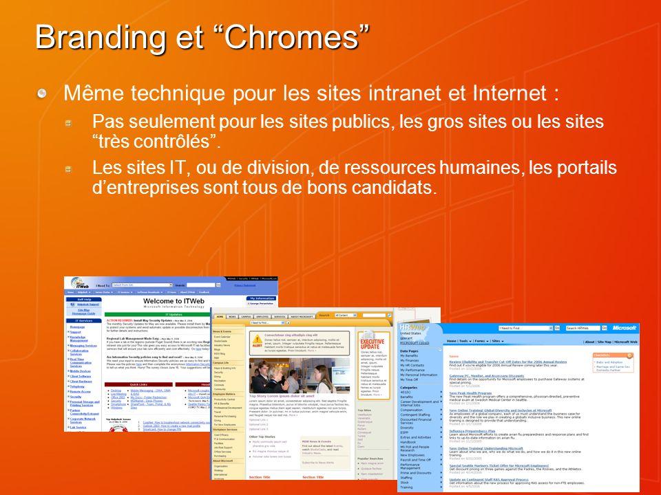 Branding et Chromes Même technique pour les sites intranet et Internet : Pas seulement pour les sites publics, les gros sites ou les sites très contrôlés.