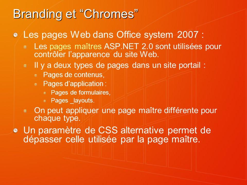 Branding et Chromes Les pages Web dans Office system 2007 : Les pages maîtres ASP.NET 2.0 sont utilisées pour contrôler lapparence du site Web. Il y a