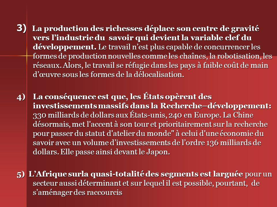 II/ Les enjeux de léconomie du savoir dans les systèmes productifs 1) La théorie économique des Classiques à Lucas, Romer et Barro en passant par J.Schumpeter a toujours montré que les innovations et le progrès technique ont été des facteurs déterminants du développement et de la croissance.