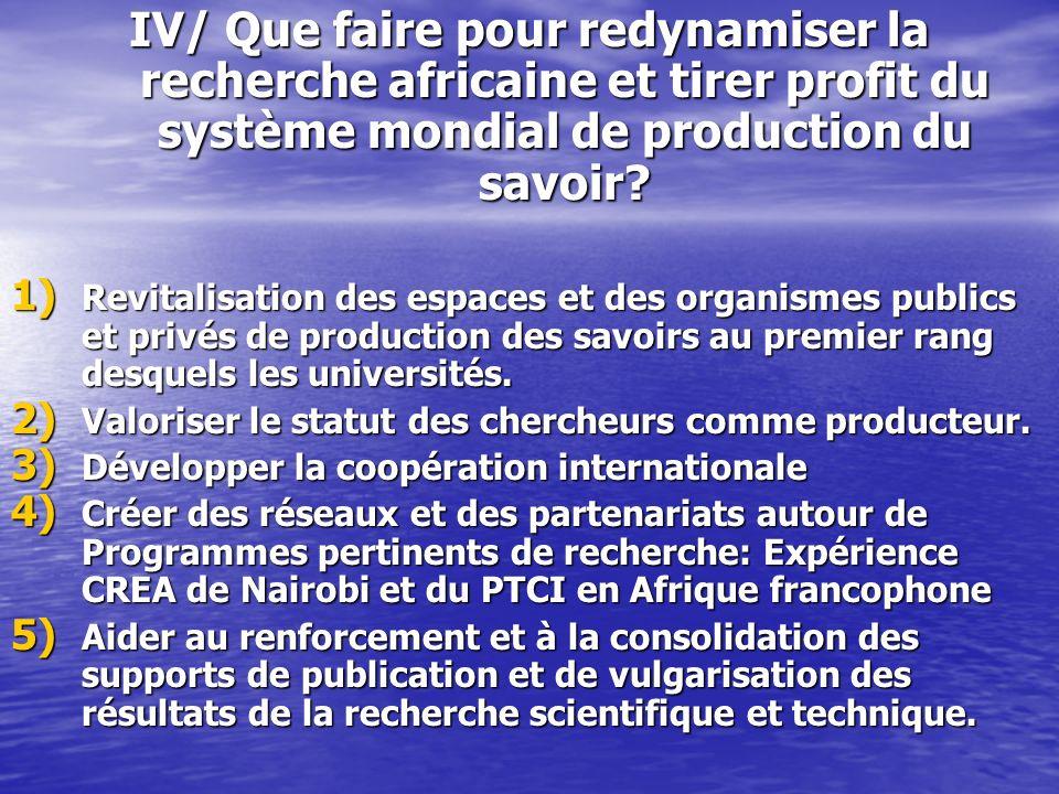 IV/ Que faire pour redynamiser la recherche africaine et tirer profit du système mondial de production du savoir? 1) Revitalisation des espaces et des