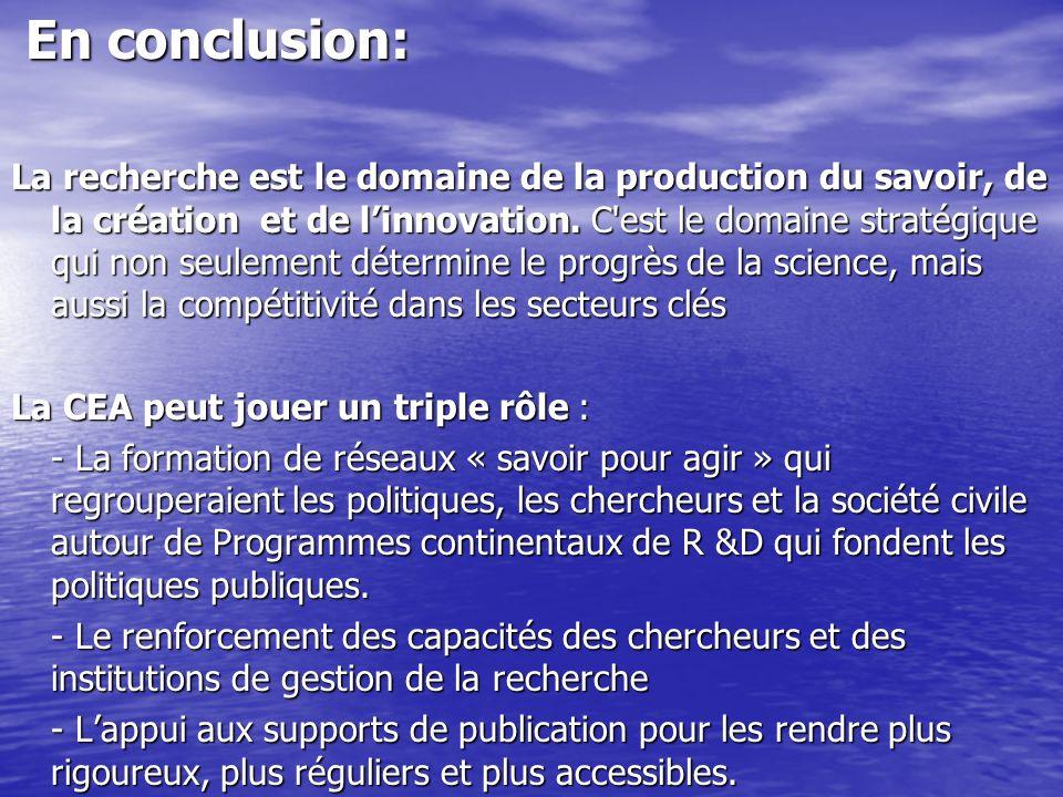 En conclusion: En conclusion: La recherche est le domaine de la production du savoir, de la création et de linnovation. C'est le domaine stratégique q