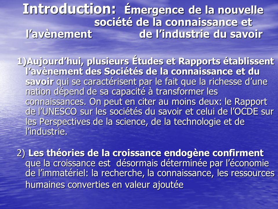 Introduction: Émergence de la nouvelle société de la connaissance et lavènement de lindustrie du savoir Introduction: Émergence de la nouvelle société