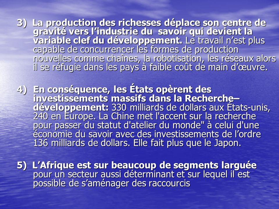 3) La production des richesses déplace son centre de gravité vers lindustrie du savoir qui devient la variable clef du développement. Le travail nest