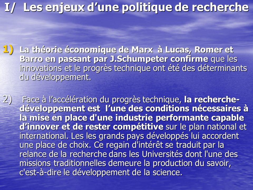 I/ Les enjeux dune politique de recherche 1) La théorie économique de Marx à Lucas, Romer et Barro en passant par J.Schumpeter confirme que les innova