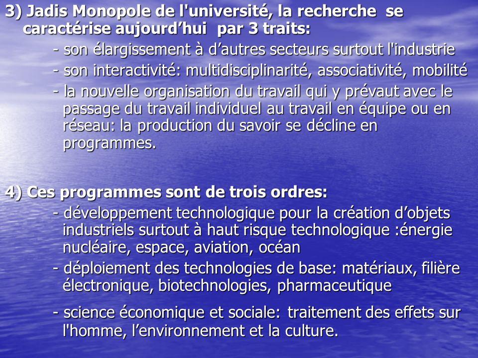 3) Jadis Monopole de l'université, la recherche se caractérise aujourdhui par 3 traits: - son élargissement à dautres secteurs surtoutl'industrie - so
