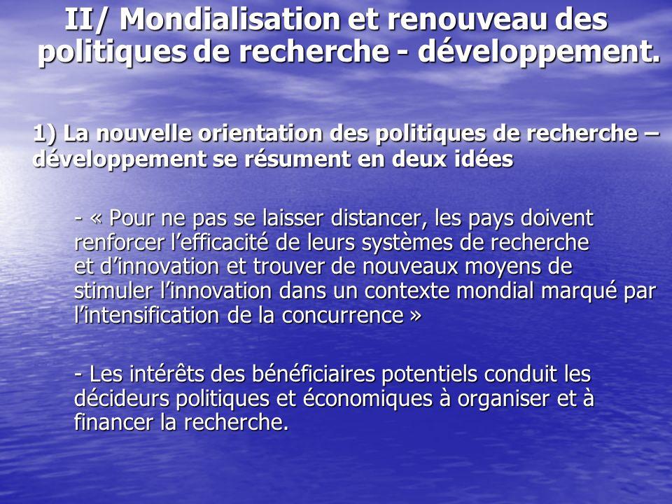 II/ Mondialisation et renouveau des politiques de recherche - développement. 1) La nouvelle orientation des politiques de recherche – développement se