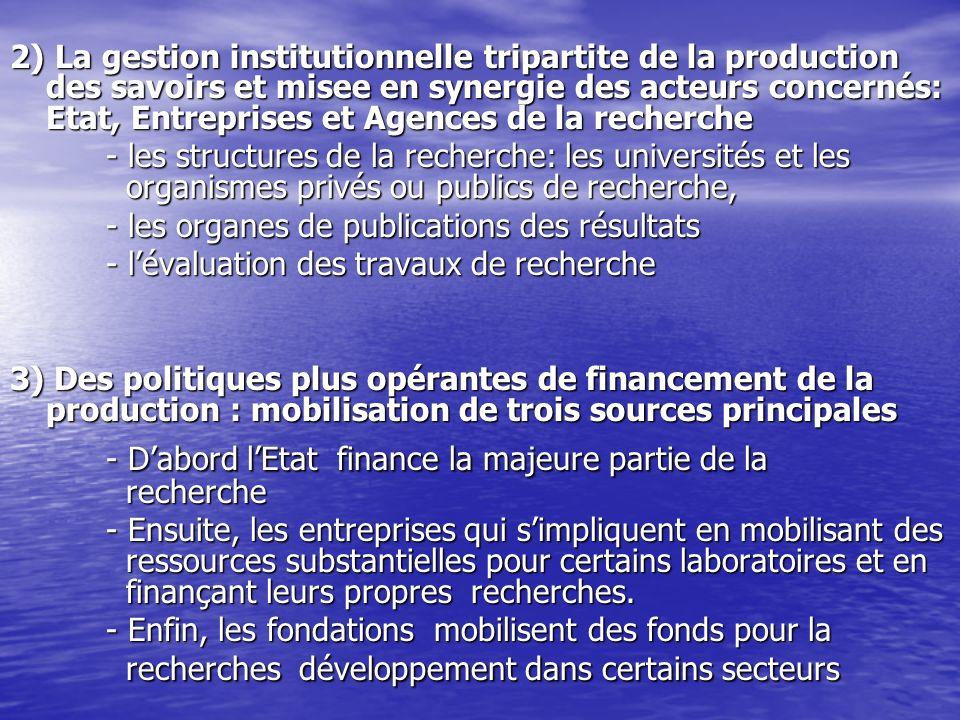 2) La gestion institutionnelle tripartite de la production des savoirs et misee en synergie des acteurs concernés: Etat, Entreprises et Agences de la