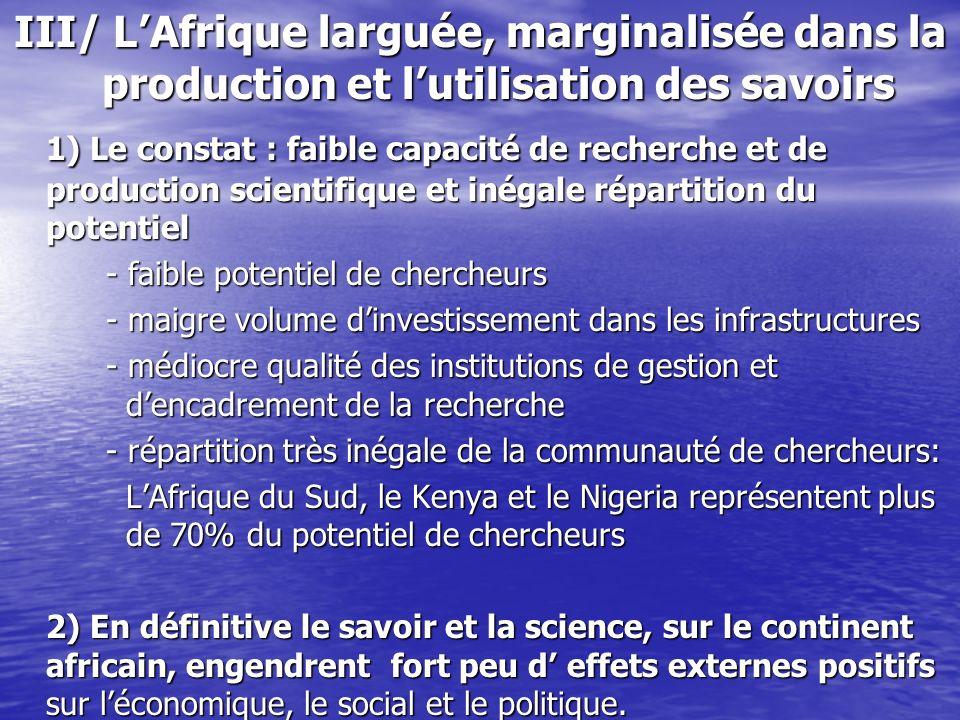 III/ LAfrique larguée, marginalisée dans la production et lutilisation des savoirs 1) Le constat : faible capacité de recherche et de production scien