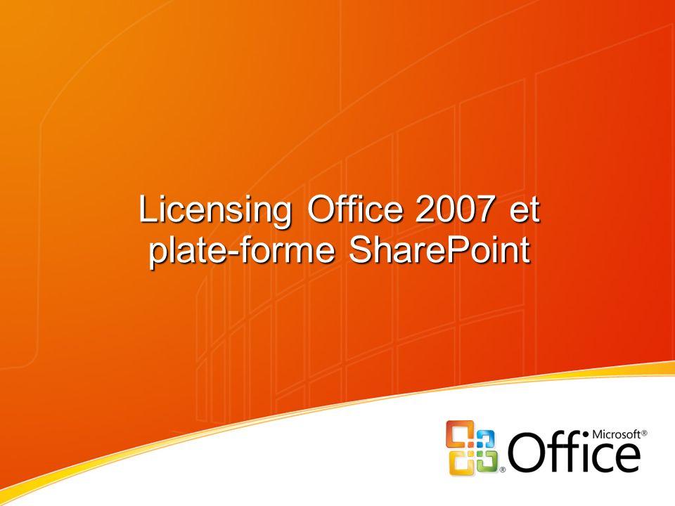 + 22% vs Pro Plus 2007 + 5% vs Office Pro EE 2003 Pas de changement Le licensing des suites Office Productivité personnelle Les éléments de base pour la création de contenu avec une interface fluide et intuitive.